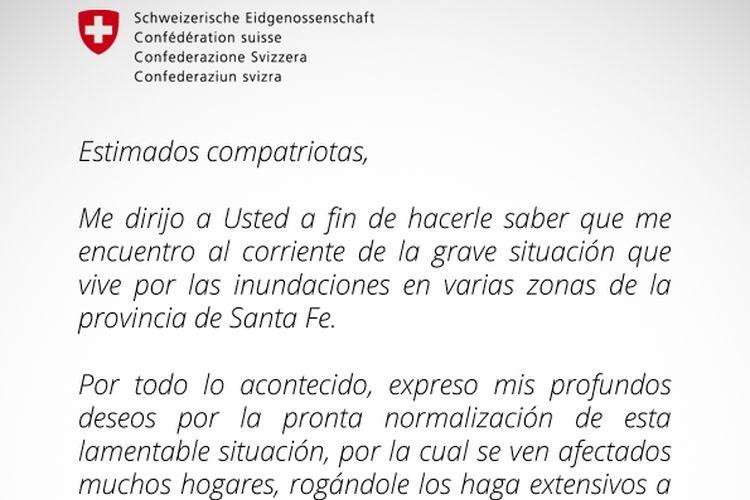 El Embajador Suizo Hanspeter Mock, expresó sus sentimientos y deseos, en relación a la difícil situación vivida por las inundaciones. Foto: Comuna de san Jerónimo Norte