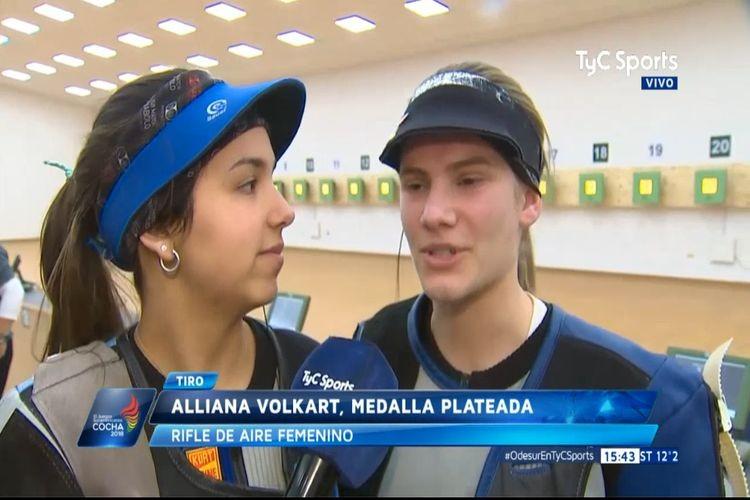 """Volkart aseguró que, """"pese a competir por el título sudamericano, no son rivales y que el objetivo era el oro y la plata y acá están"""". Foto: TyC Sports"""